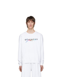 Pull à col rond imprimé blanc Givenchy