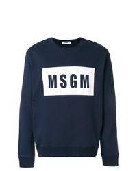 Pull à col rond imprimé bleu marine et blanc MSGM