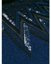 Pull à col rond imprimé bleu marine Fendi