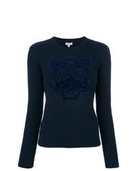 Acheter pull à col rond imprimé bleu marine femmes Kenzo   Mode ... bd5969e12d1