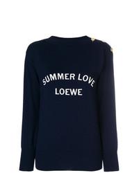 Pull à col rond imprimé bleu marine Loewe
