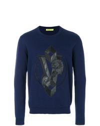 Pull à col rond imprimé bleu marine Versace Jeans