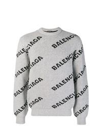 Pull à col rond imprimé gris Balenciaga