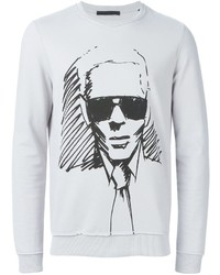Pull à col rond imprimé gris Karl Lagerfeld
