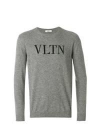 Pull à col rond imprimé gris Valentino