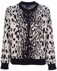 Pull à col rond imprimé léopard blanc et noir