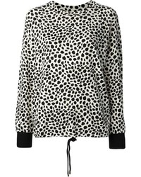 Pull à col rond imprimé léopard blanc et noir Chloé