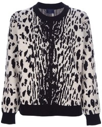 Pull à col rond imprimé léopard blanc et noir Lanvin