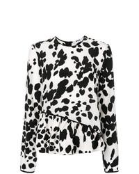 Pull à col rond imprimé léopard blanc et noir MSGM