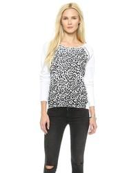 Pull à col rond imprimé léopard blanc et noir Rebecca Minkoff