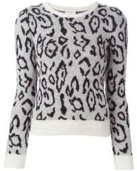 Pull à col rond imprimé léopard blanc et noir Saint Laurent