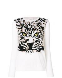 Pull à col rond imprimé léopard blanc et noir Sonia Rykiel