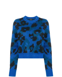 Pull à col rond imprimé léopard bleu Rag & Bone