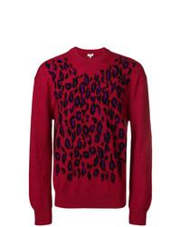 Pull à col rond imprimé léopard bordeaux Kenzo