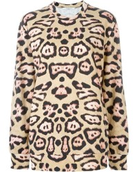 Pull à col rond imprimé léopard brun clair Givenchy