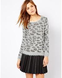 Pull à col rond imprimé léopard gris A Wear