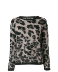 Pull à col rond imprimé léopard gris Luisa Cerano