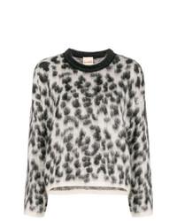 Pull à col rond imprimé léopard gris Nude