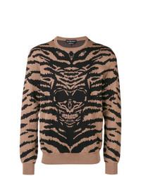Pull à col rond imprimé léopard marron clair Alexander McQueen