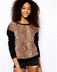 Pull à col rond imprimé léopard marron clair Glamorous