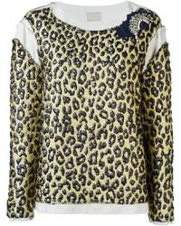 Pull à col rond imprimé léopard marron clair Lanvin