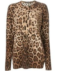 Pull à col rond imprimé léopard marron