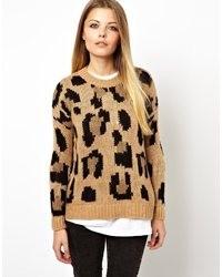 Pull à col rond imprimé léopard marron Pull&Bear