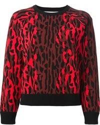Pull à col rond imprimé léopard rouge et noir Valentino