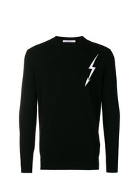 Pull à col rond imprimé noir et blanc Givenchy