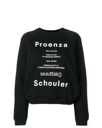 Pull à col rond imprimé noir et blanc Proenza Schouler