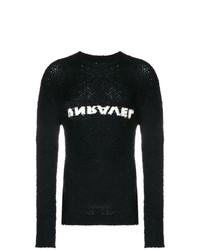 Pull à col rond imprimé noir et blanc Unravel Project