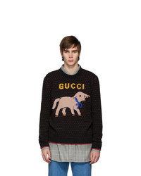 Pull à col rond imprimé noir Gucci