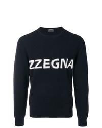 Pull à col rond imprimé noir Z Zegna