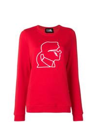 Pull à col rond imprimé rouge et blanc Karl Lagerfeld