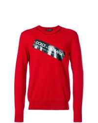 Pull à col rond imprimé rouge Dolce & Gabbana