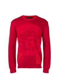 Pull à col rond imprimé rouge Versace