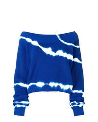Pull à col rond imprimé tie-dye bleu