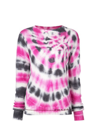 Pull à col rond imprimé tie-dye rose Prada