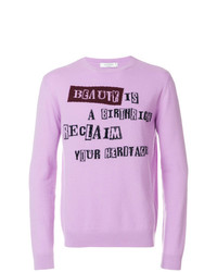 Pull à col rond imprimé violet clair Valentino