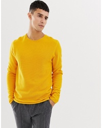 Pull à col rond jaune Selected Homme