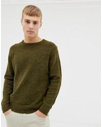 Pull à col rond olive Burton Menswear