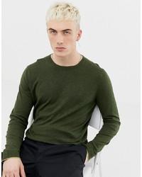 Pull à col rond olive Calvin Klein