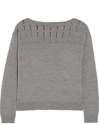 Pull à col rond orné gris Milly