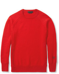 Pull à col rond rouge Alexander McQueen