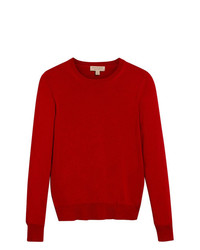 Pull à col rond rouge Burberry