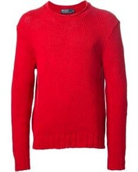 Pull à col rond rouge Polo Ralph Lauren