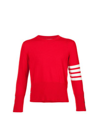Pull à col rond rouge Thom Browne