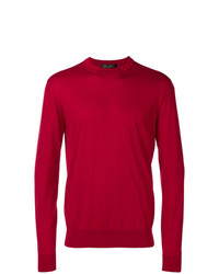 Pull à col rond rouge Versace