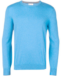 Pull à col rond turquoise Brunello Cucinelli