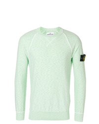 Pull à col rond vert menthe Stone Island